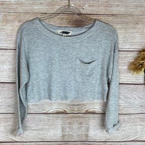 Painted Threads Long Sleeve Crew Gray Crop Top